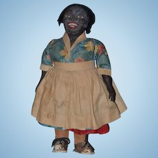 Antique Doll Black Oil Cloth Character Doll UNUSUAL Rare