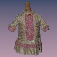 Old Doll Dress For French Doll Sweet Lace & Silk