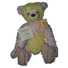 Wonderful Artist Teddy Bear Riffenberg By Artist Jane Monroe Multi Colored Mohair Jointed Lemon Twist W/ Tag