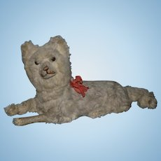 Old Papier Mache Fur Dog For Doll Jointed Head Glass Eyes Paper Mache  Sweet! French Pajama Dog