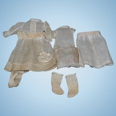 Antique French Doll Dress w/ Undergarments Stamped Eden BeBe Sweet Set Dress Socks Sweet Whole Lot
