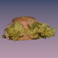 Wonderful Straw Doll Hat W. Flowers and Bows Sweet Size