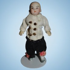 Antique Doll All Bisque Miniature Oriental Doll Swivel Neck W/ Queue Dollhouse