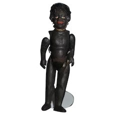 Antique Doll Miniature Black Folk Art Papier Mache Jointed Dollhouse
