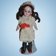 Antique Doll Miniature All Bisque Mignonette Black Thigh High Stockings Dollhouse  Glass Eyes French Market Swivel Neck