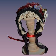 Wonderful Doll Bonnet Hat Beaded Flowers Feathers Lace