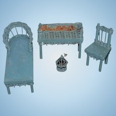 Old Doll Dollhouse Miniature Wood Wicker Chaise Lounge Chair Bird Cage Plant Stand