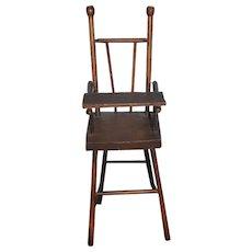 Antique Doll Wood Miniature High Chair Folk Art Sweet!!! Petite Size