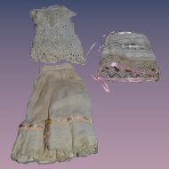 Antique Doll Undergarments Lace Fancy Set of Three