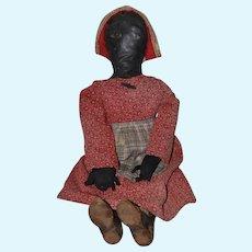 Wonderful Black Cloth Oil Painted Doll Large Unusual