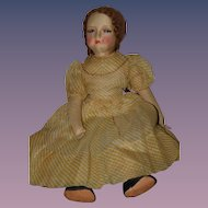 "Wonderful Old Cloth Doll Painted Features Eyelashes Large Mohair Wig 25"" Tall"
