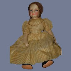 """Wonderful Old Cloth Doll Painted Features Eyelashes Large Mohair Wig 25"""" Tall"""