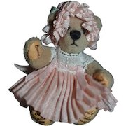 "Artist Miniature Signed Teddy Bear Jointed ""Bear with Me"" Thereza's Bear All Dressed Up For Dollhouse"