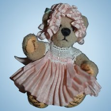 """Artist Miniature Signed Teddy Bear Jointed """"Bear with Me"""" Thereza's Bear All Dressed Up For Dollhouse"""