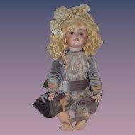Antique Doll French Bisque TeTe Jumeau Original Paper Label Wonderful Old Hat Old Dress