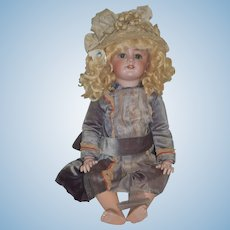 Antique Doll French Bisque TeTe Jumeau Original Paper Label Wonderful Old Hat Old Dress