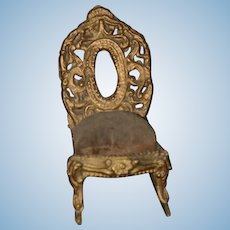 Old Metal Ornate Miniature Doll Dollhouse Rocking Chair Rocker or Early Pincushion