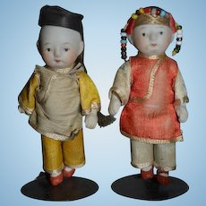 Wonderful All Bisque Jointed Oriental Doll Set Pair W/ Factory Original Clothing Miniature Dollhouse