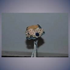 Wonderful Old Bonnet Hat For Fashion Doll Or Fancy China Head Flowers lace Crochet