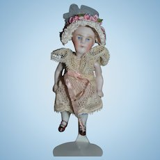 Antique Doll Miniature All Bisque Double strap Shoes Dollhouse Jointed Swivel Neck