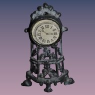 Old Doll Miniature Metal Standing Mantle Clock Ornate Dollhouse