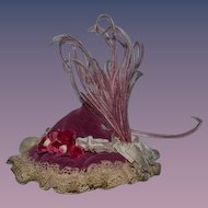 Old Doll Hat For Fancy Fashion Doll Flowers Feathers Bows