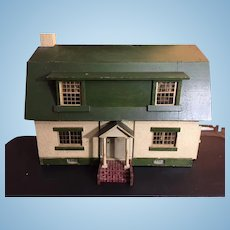 Antique Dollhouse Wonderful English Tudor Stucco W/ Removable Side Porch Two Floors