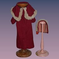 Old Doll Coat and Hat Fur Trimmed Wonderful
