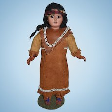 Antique Doll Bisque Indian Doll Original Clothing Glass Eyes