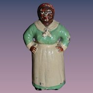 Antique Doll Miniature Black Mammy Hubley Dollhouse Lady Black Americana Cast Iron