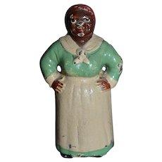 Antique Doll Miniature Black Mammy Hubley Dollhouse Lady Black Americana Cast Iron