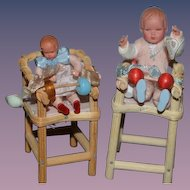 Old Doll Miniature Caco Doll Set Wood High Chair Dollhouse German Dolls Highchairs