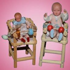 Old Doll Miniature Caco Doll Set Wood High Chair Dollhouse German Dolls Highchairs
