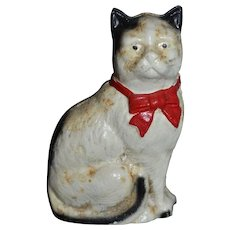 Vintage Cat Sitting Bank Cast Iron Red Bow