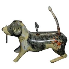 Old Tin Wind Up Toy Dog W/ Cane Wagging Tail Alps Toys Mechanical