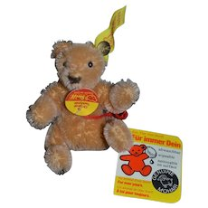Wonderful Vintage Steiff Teddy Bear w/ Button Tag Chest Tag Miniature Dollhouse Doll Toy