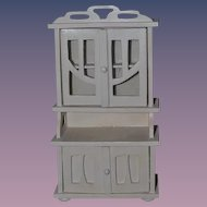 Wood Miniature Glass Front Painted Cabinet Dollhouse Doll