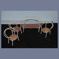 Old Doll Miniature Wrapped Wire Dollhouse Furniture Sofa & Chairs Germany