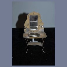 Old Doll Tin Miniature Wash Stand W/ Bowl & Mirror Dollhouse Bathroom