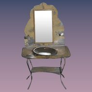 Old Doll Tin Miniature Wash Stand W/ Bowl & Mirror Dollhouse Bathroom