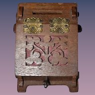 Wonderful Miniature Wood Carved Hinged Ormolu Box W/ Key Fashion Doll Dollhouse