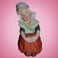 Antique Doll Heubach Figurine Sweet Girl Bisque Dutch Girl Piano Baby