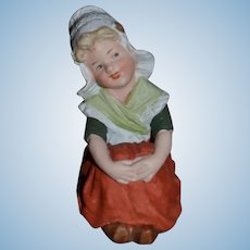 Antique Doll Heubach Figurine Sweet Girl Bisque Dutch Girl Piano Baby