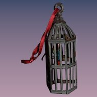 Wonderful Old Doll Miniature Metal Bird Cage with Old Tin Bird on Swing Dollhouse