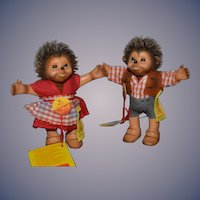 Vintage Doll Set Dolls Steiff Hedgehog Miniature Pair W/ Button Tags and Chest tags