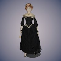 Unusual Old Papier Mache Doll Fancy ANNE MARIE Most Elaborate Hair Style Old Clothes Cloth Doll
