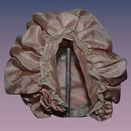 Old Silk and Lace Bonnet Hat for Doll Fancy Bows