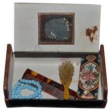 Antique Doll Miniature French Fashion Traveling Case W/ Vanity Items and Accessories Brush Comb Clothes Brush Necklace