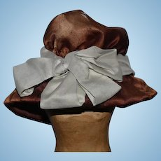 Old Silk Doll Hat Bonnet Floppy W/ Bow Wonderful French Doll LOVES this!