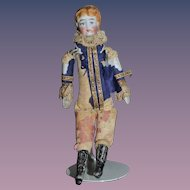 Antique Doll China Head Miniature Tall Black Boots Dollhouse